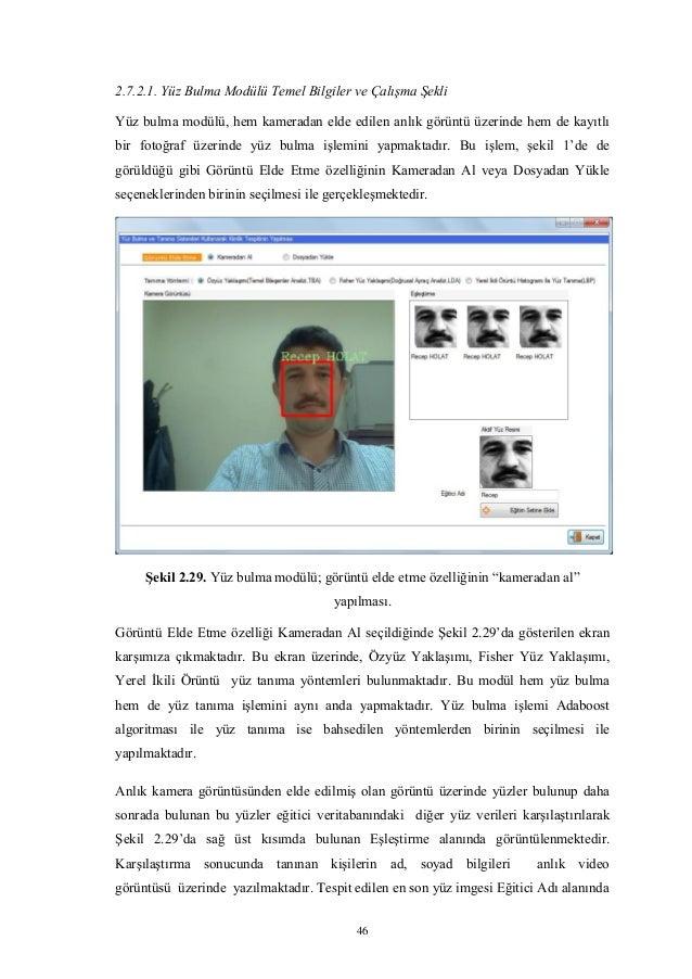 46 2.7.2.1. Yüz Bulma Modülü Temel Bilgiler ve Çalışma Şekli Yüz bulma modülü, hem kameradan elde edilen anlık görüntü üze...