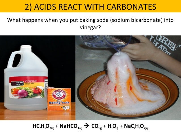 zinc reacts with vinegar Balanced equation for the reaction of baking soda and household vinegar:   acids) by their reaction with some metals such as zinc, and by their reaction with .