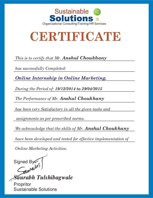Internship Certificate Anshul Choukhany