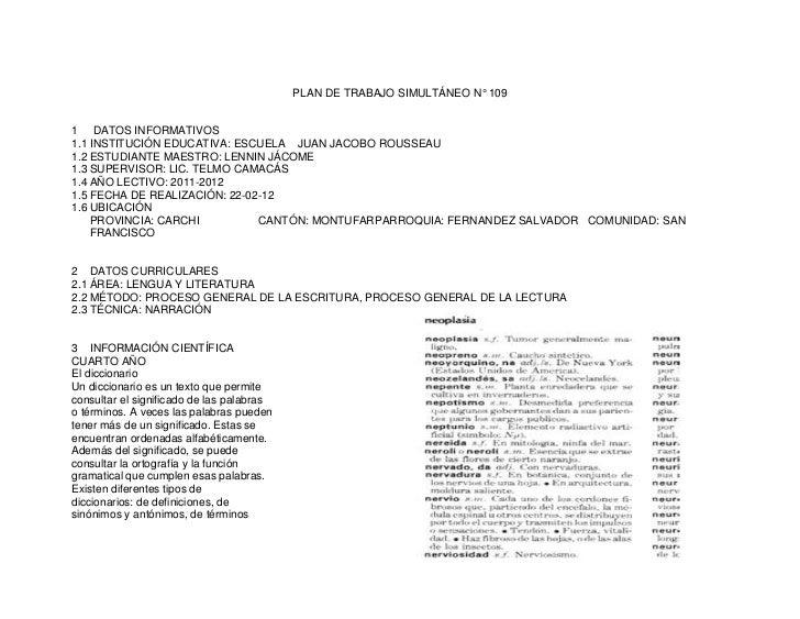 PLAN DE TRABAJO SIMULTÁNEO N° 1091 DATOS INFORMATIVOS1.1 INSTITUCIÓN EDUCATIVA: ESCUELA JUAN JACOBO ROUSSEAU1.2 ESTUDIANTE...
