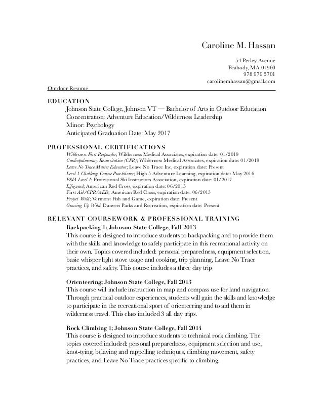 Outdoor Resume pdf