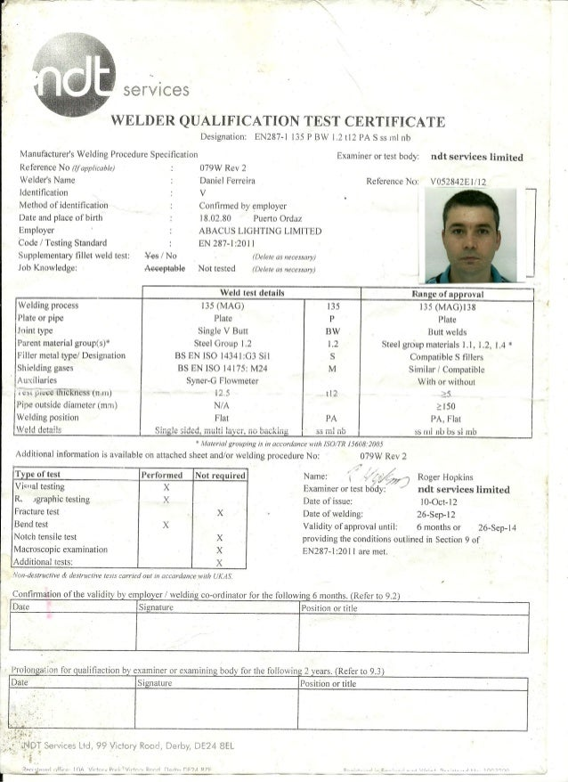 Welder qualification test certificate BS EN 287-1 135 PBW