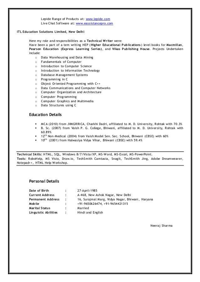 Neeraj Sharma - Resume For Profile of Senior Technical Writer