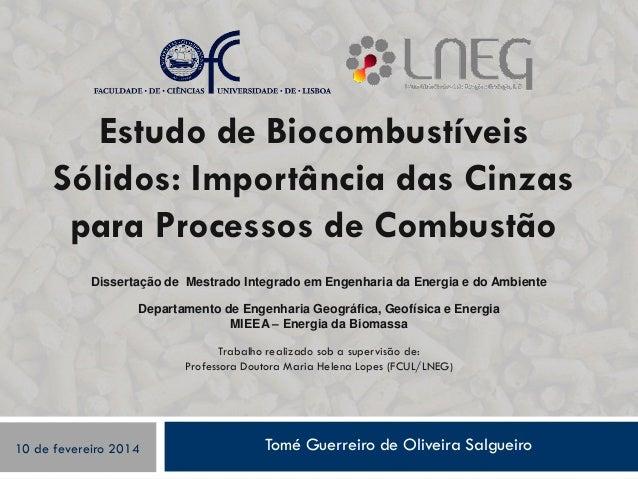 Tomé Guerreiro de Oliveira Salgueiro Estudo de Biocombustíveis Sólidos: Importância das Cinzas para Processos de Combustão...