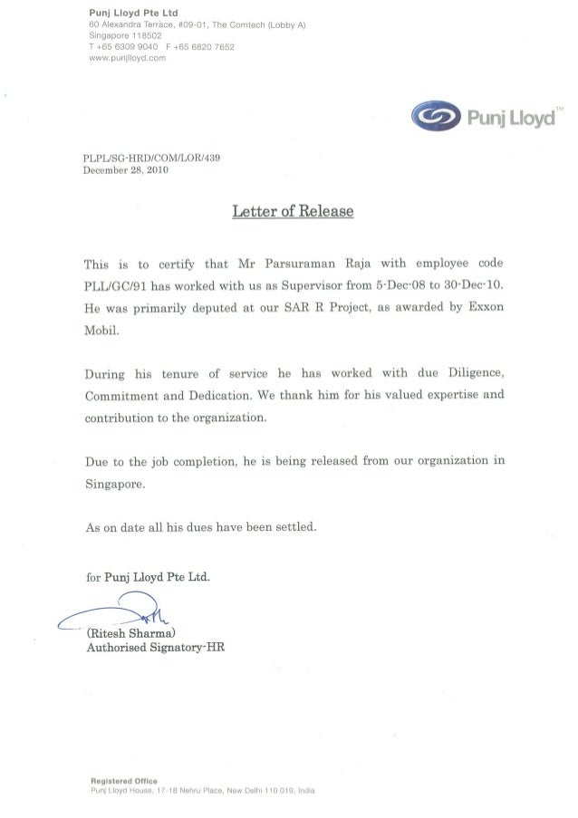 release letter