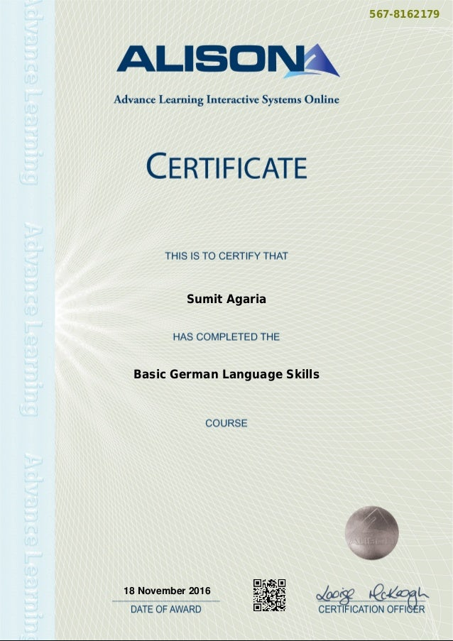 SumitAgaria-Basic German Language Certification