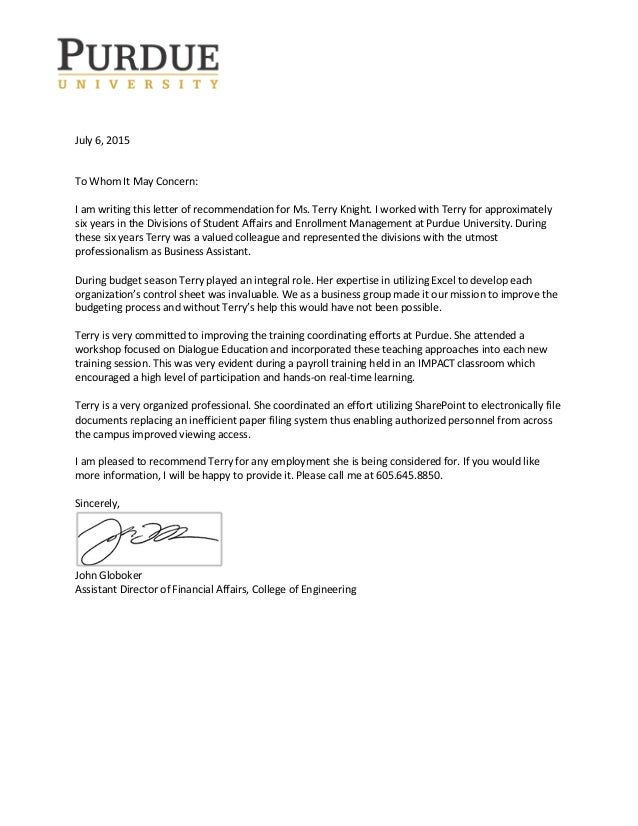 Terry Knight's recommendation letter