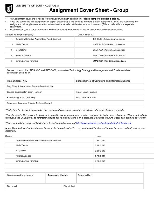 unisa assignment cover sheet