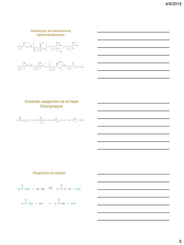 4/9/2015 5 Механизъм на киселинната преестерификация Алкален хидролиз на естери Осапунване Хидролиз на амиди