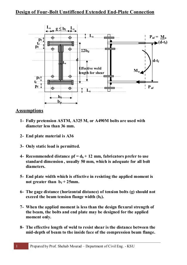 22-Design of Four Bolt Extended Endplate Connection (Steel ...