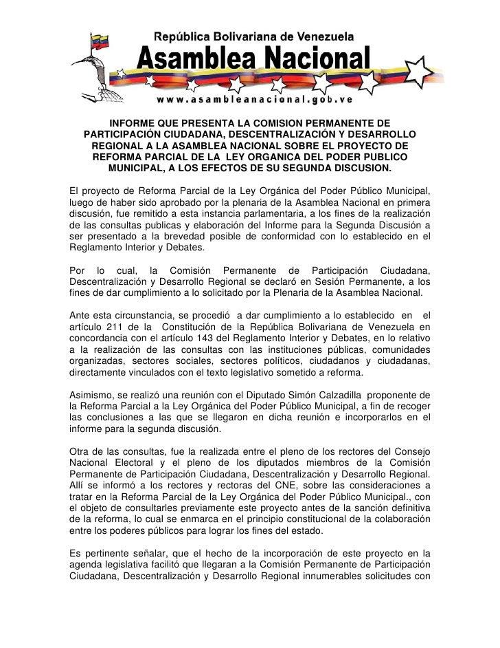 INFORME QUE PRESENTA LA COMISION PERMANENTE DE    PARTICIPACIÓN CIUDADANA, DESCENTRALIZACIÓN Y DESARROLLO     REGIONAL A L...