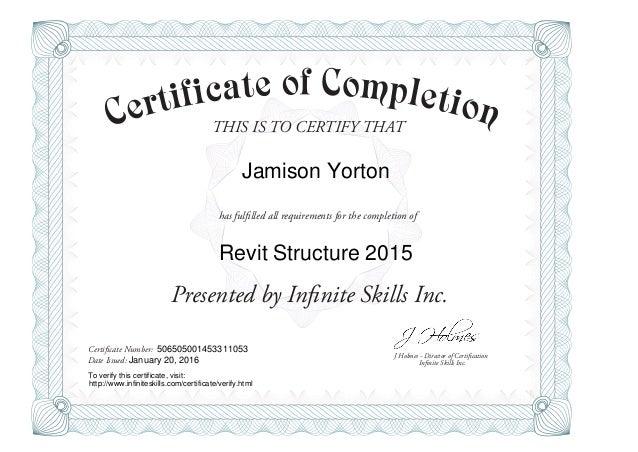 Revit Structure 2015 Training Certificate