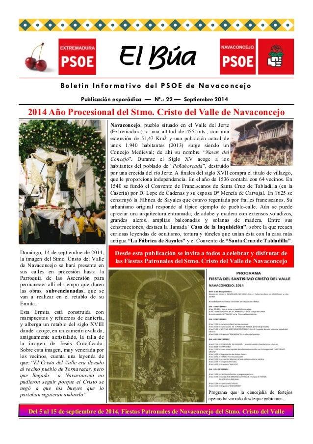 2014 Año Procesional del Stmo. Cristo del Valle de Navaconcejo  El Búa  Boletín Informativo del PSOE de Navaconcejo  Publi...