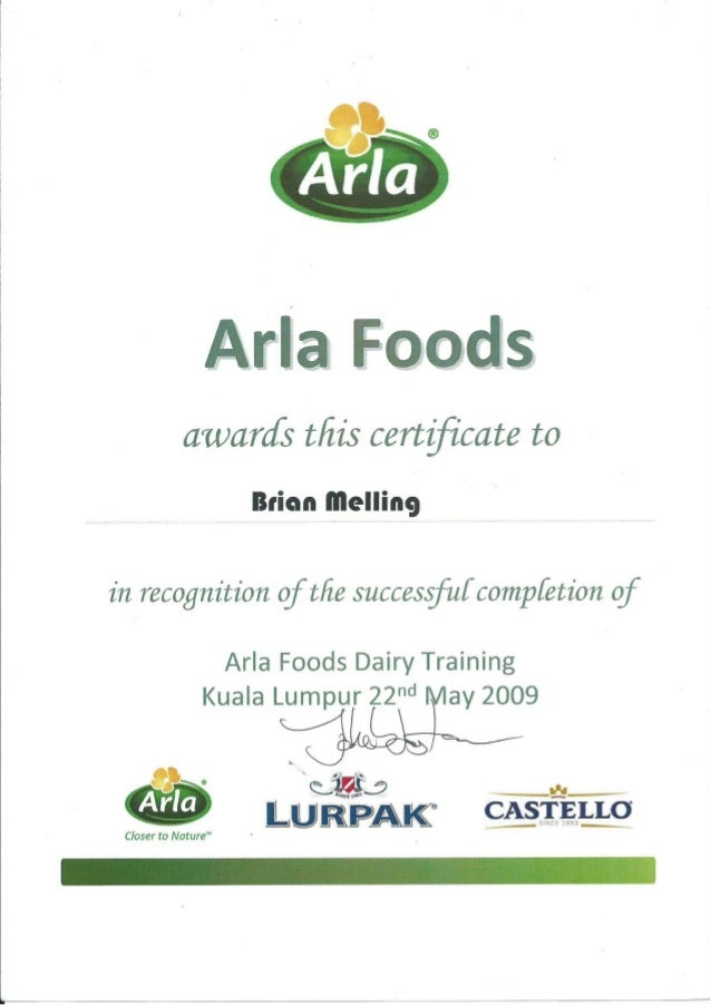ARLA Dairy Training