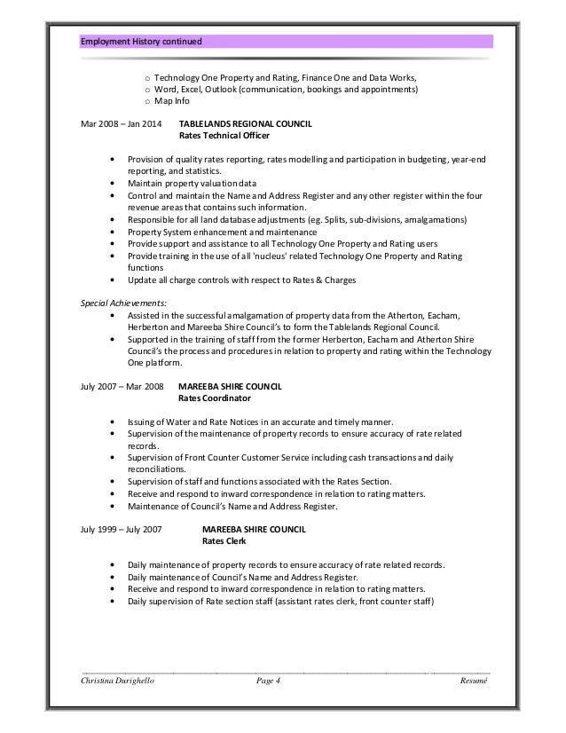 Description For Resume Pdf Christinas Resume  Skills Based Resume Excel with Example Resume Pdf Christina Durighello Page  Resum Employment History Continued O  Technology One Property And Rating Finance One And Data Works O Word  Excel  College Grad Resume Examples Excel