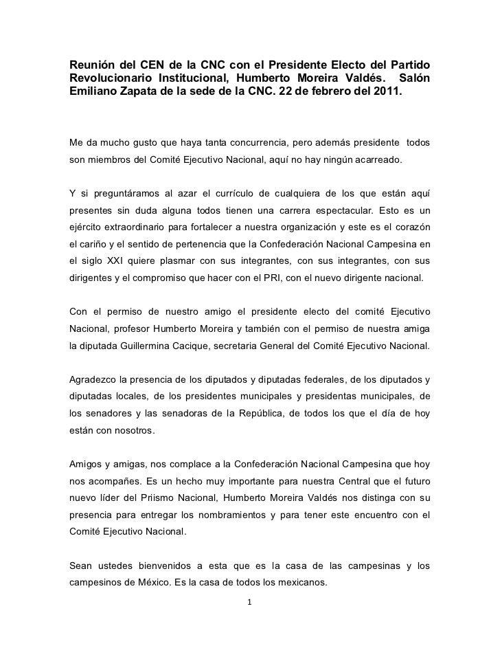 Reunión del CEN de la CNC con el Presidente Electo del PartidoRevolucionario Institucional, Humberto Moreira Valdés. Salón...