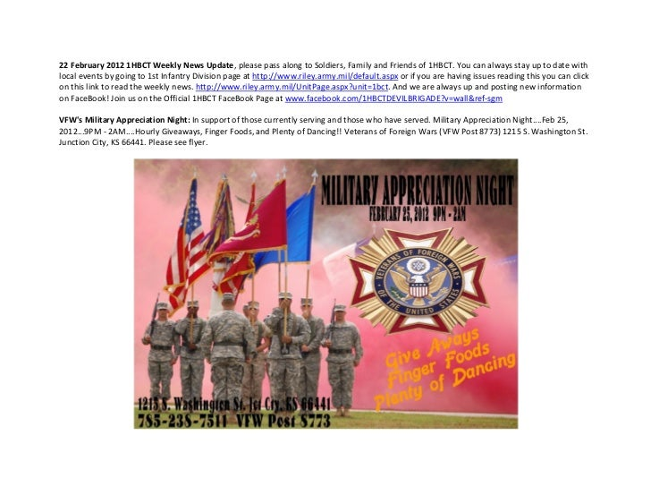 22 February 2012 1HBCT Weekly News Update, please pass along to Soldiers, Family and Friends of 1HBCT. You can always stay...