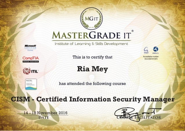 cism certificate slideshare upcoming
