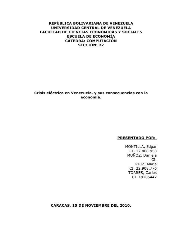 REPÚBLICA BOLIVARIANA DE VENEZUELA      UNIVERSIDAD CENTRAL DE VENEZUELA  FACULTAD DE CIENCIAS ECONÓMICAS Y SOCIALES      ...