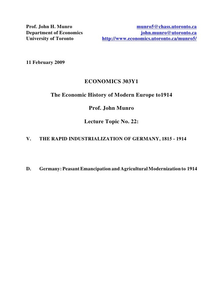 Prof. John H. Munro                            munro5@chass.utoronto.ca Department of Economics                         jo...