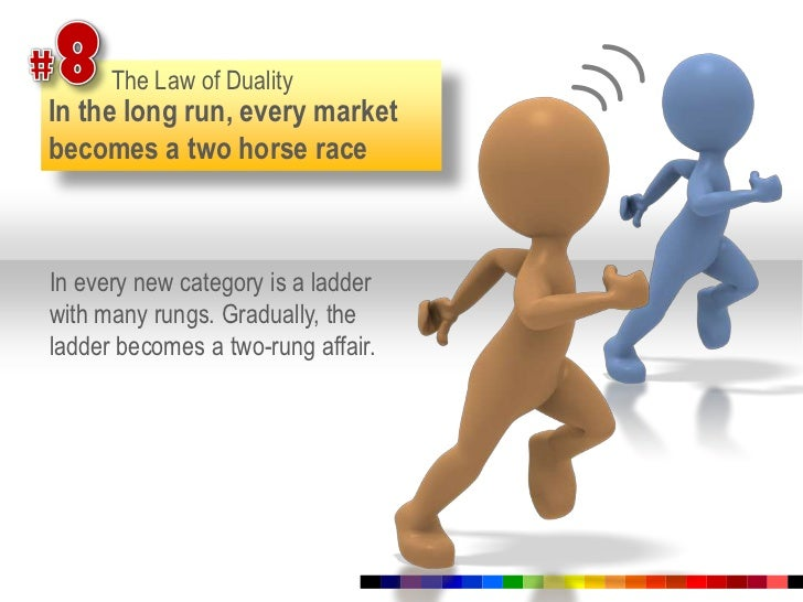 #8<br />The Law of Duality<br />In the long run, every market becomes a two horse race<br />In every new category is a lad...