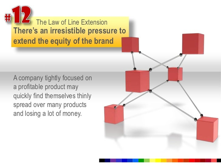 #12<br />The Law of Line Extension<br />There's an irresistible pressure to extend the equity of the brand<br />A company ...