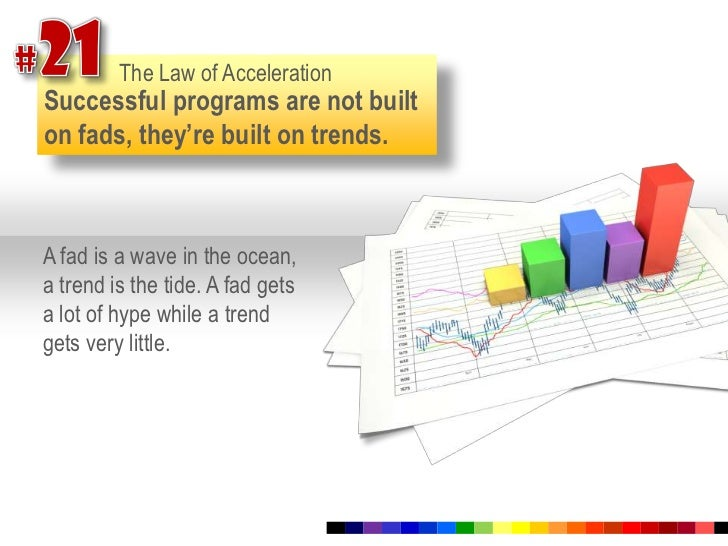 #21<br />The Law of Acceleration<br />Successful programs are not built on fads, they're built on trends.<br />A fad is a ...