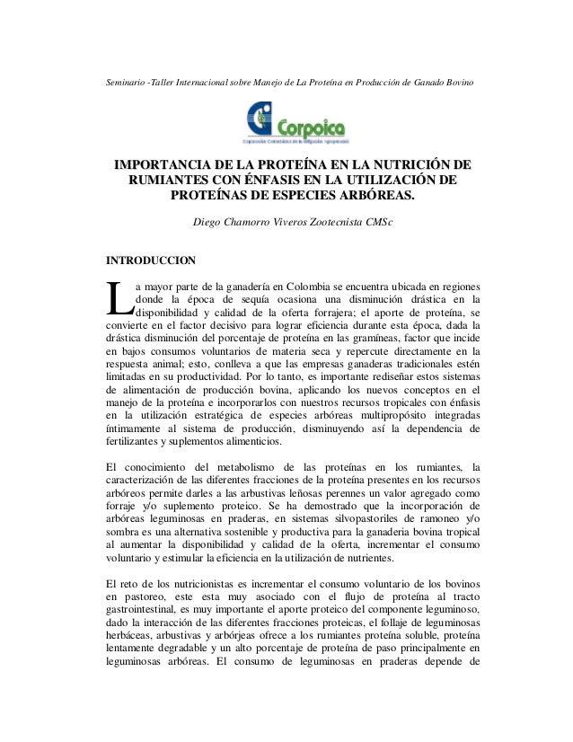 Seminario -Taller Internacional sobre Manejo de La Proteína en Producción de Ganado Bovino IIMMPPOORRTTAANNCCIIAA DDEE LLA...