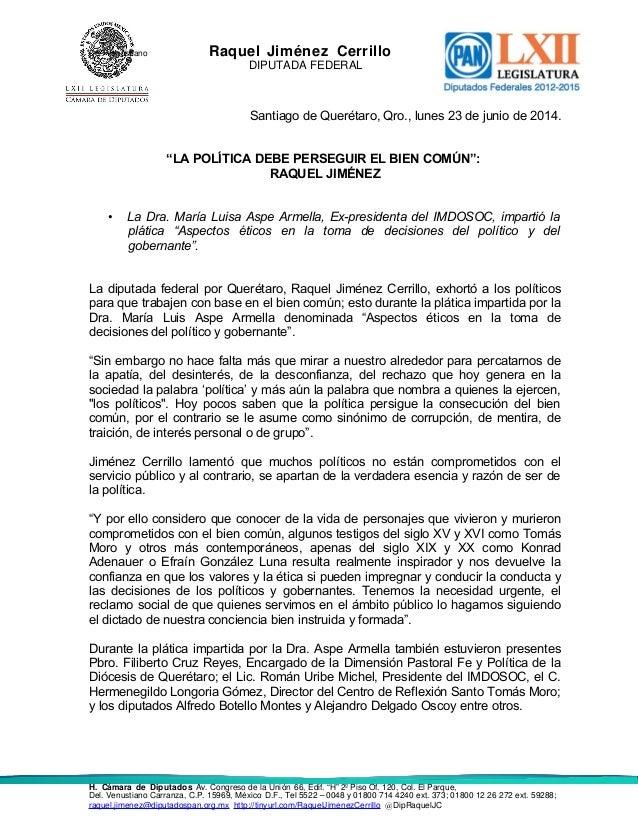 "Del. Venustiano Raquel Jiménez Cerrillo DIPUTADA FEDERAL Santiago de Querétaro, Qro., lunes 23 de junio de 2014. ""LA POLÍT..."