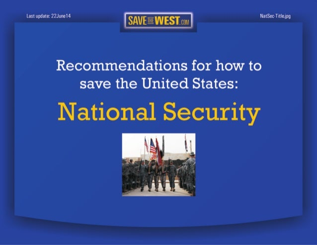 SaveTheWest's National Security recommendations