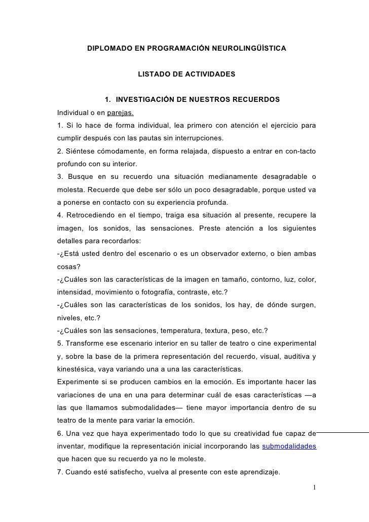 DIPLOMADO EN PROGRAMACIÓN NEUROLINGÜÍSTICA                            LISTADO DE ACTIVIDADES                 1. INVESTIGAC...