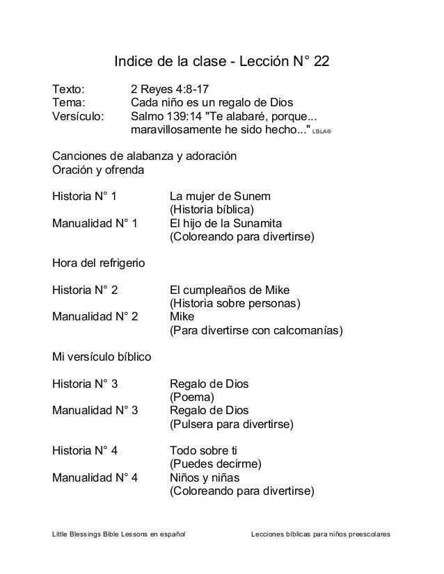 Little Blessings Bible Lessons en español Lecciones bíblicas para niños preescolares Indice de la clase - Lección N° 22 Te...