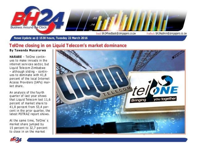 By Tawanda Musarurwa HARARE – TelOne contin- ues to make inroads in the internet services sector, but Liquid Telecom Zimba...