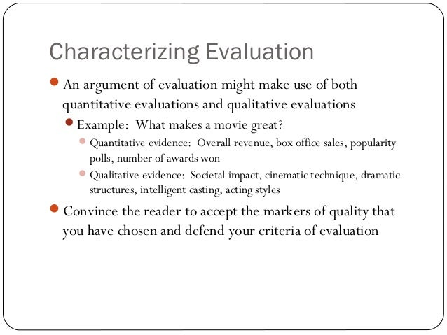 argument of evaluation
