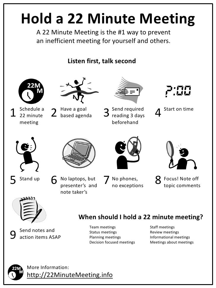 Hold a 22 Minute Meeting           A 22 Minute Meeting is the #1 way to prevent           an inefficient meeting for yours...