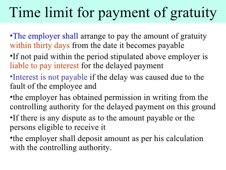 payment of gratuity act