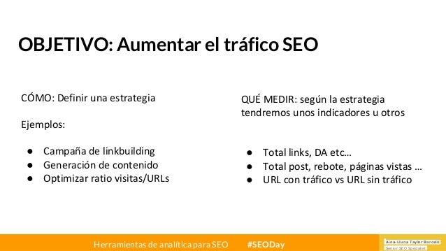 Aina-Lluna Taylor Barceló Senior SEO Specialist Herramientas de analítica para SEO #SEODay OBJETIVO: Aumentar el tráfico S...