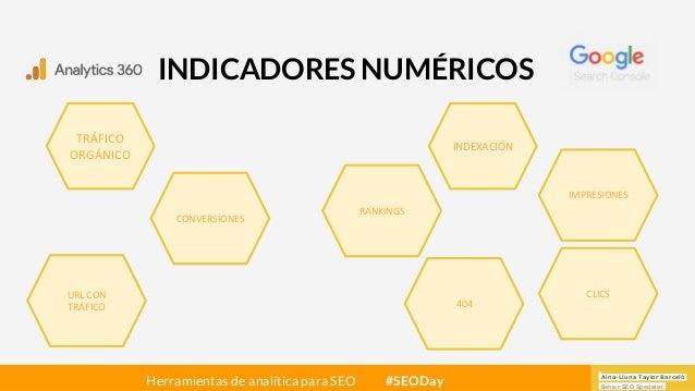 Aina-Lluna Taylor Barceló Senior SEO Specialist Herramientas de analítica para SEO #SEODay INDICADORES NUMÉRICOS TRÁFICO O...