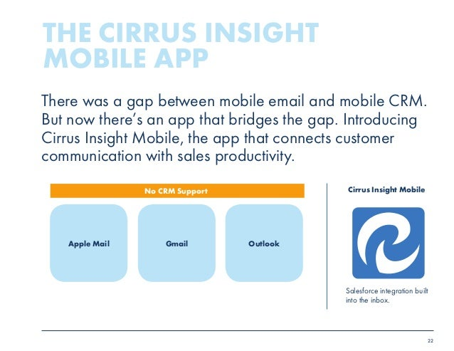 22  There was a gap between mobile email and mobile CRM.  But now there's an app that bridges the gap. Introducing  Cirrus...