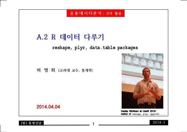 [원] 통계상담 2014-11 A.2 R 데이터 다루기 reshape, plyr, data.table packages 허 명 회 (고려대 교수, 통계학) 2014.04.04 Hadley Wickham at UseR! 2...