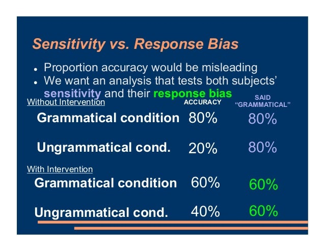 Sensitivity vs. Response Bias ! Proportion accuracy would be misleading ! We want an analysis that tests both subjects' se...