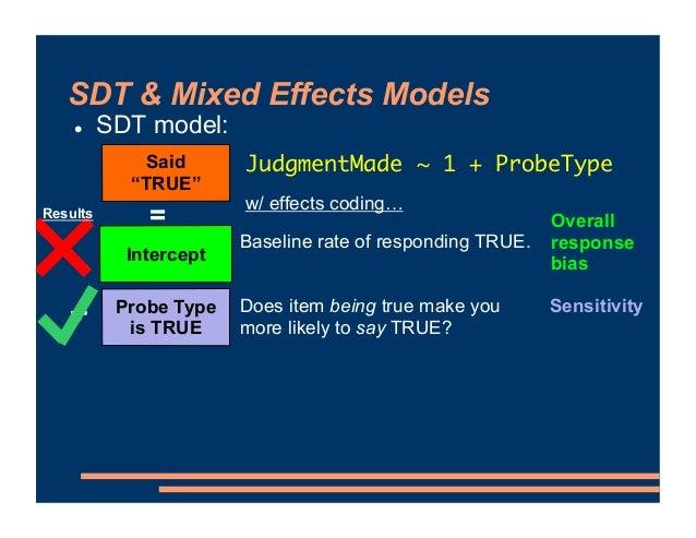 "SDT & Mixed Effects Models ! SDT model: Said ""TRUE"" = Probe Type is TRUE Intercept Baseline rate of responding TRUE. Does ..."