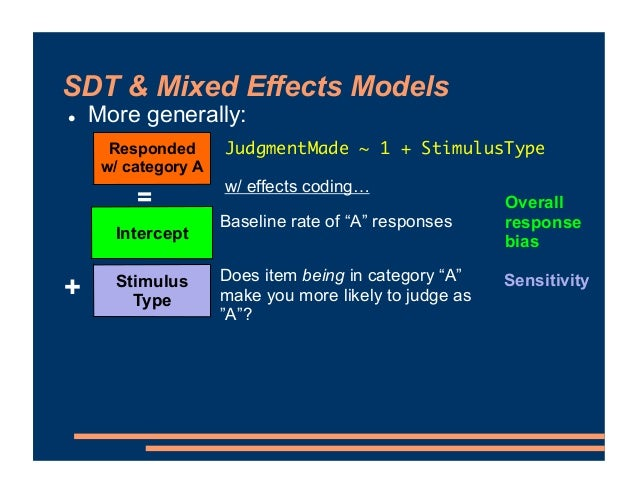 """SDT & Mixed Effects Models ! More generally: Responded w/ category A = Stimulus Type Intercept Baseline rate of """"A"""" respon..."""