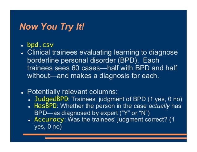 Now You Try It! ! bpd.csv ! Clinical trainees evaluating learning to diagnose borderline personal disorder (BPD). Each tra...