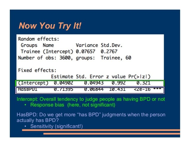 Now You Try It! Intercept: Overall tendency to judge people as having BPD or not • Response bias (here, not significant) H...