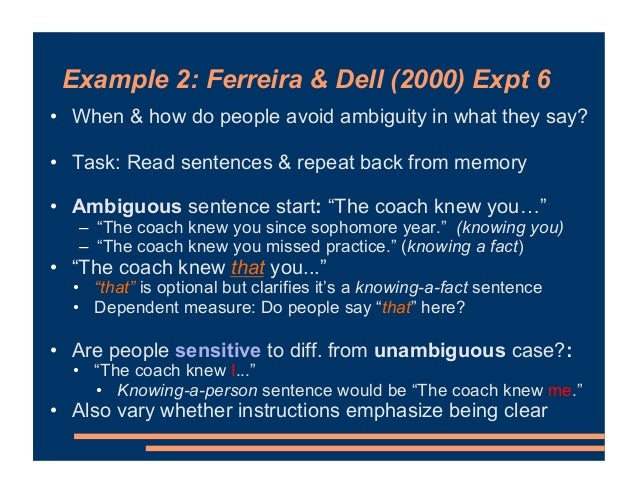 Example 2: Ferreira & Dell (2000) Expt 6 • When & how do people avoid ambiguity in what they say? • Task: Read sentences &...