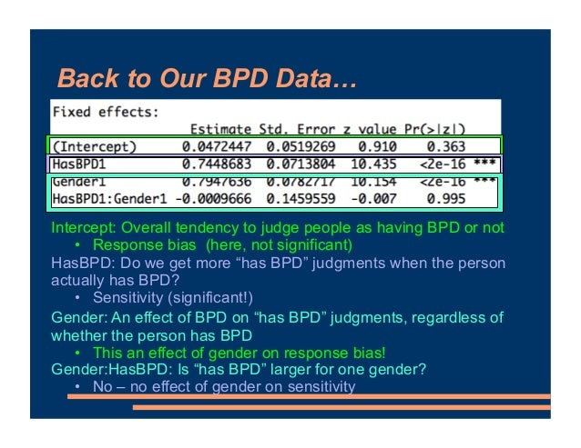 Back to Our BPD Data… Intercept: Overall tendency to judge people as having BPD or not • Response bias (here, not signific...