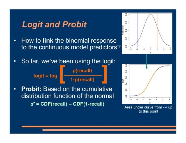 Logit and Probit • How to link the binomial response to the continuous model predictors? • So far, we've been using the lo...