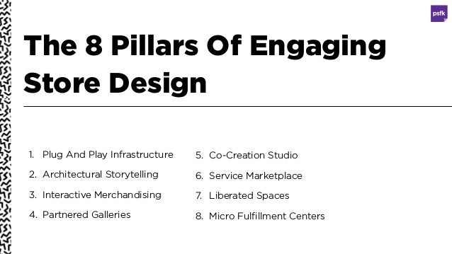 The 8 Pillars Of Engaging Store Design 1. Plug And Play Infrastructure 2. Architectural Storytelling 3. Interactive Mercha...