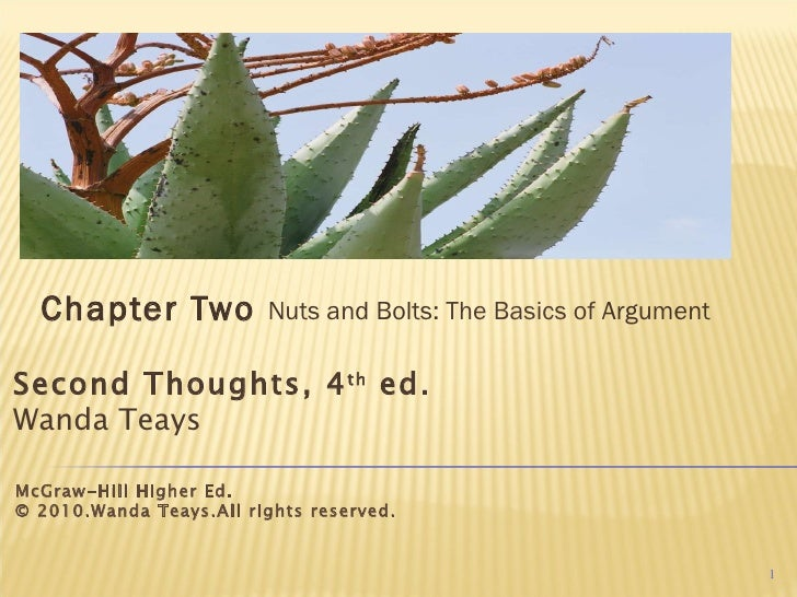 Chapter Two  Nuts and Bolts:  The Basics of  Argument Second Thoughts, 4 th  ed. Wanda Teays McGraw-Hill Higher Ed. © 2010...